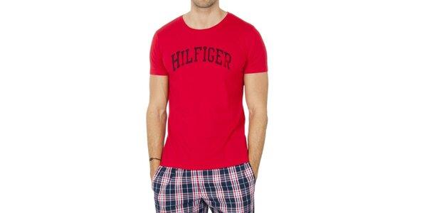 Pánske červené tričko s nápisom Tommy Hilfiger