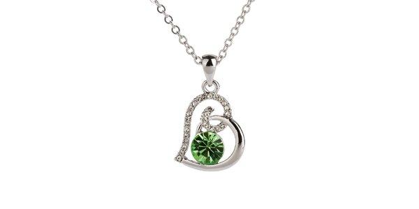 Dámsky srdiečkový náhrdelník so zeleným kamienkom Fifi Ange