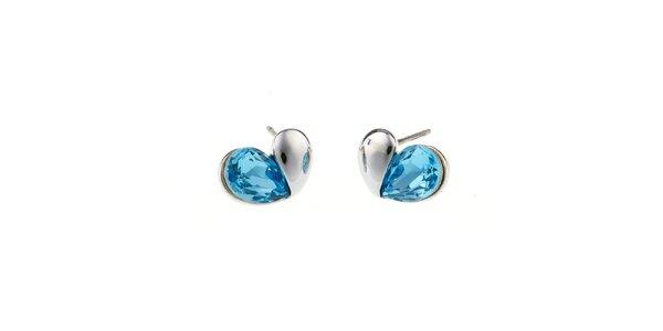 Dámske náušnice s modrým srdiečkom Fifi Ange