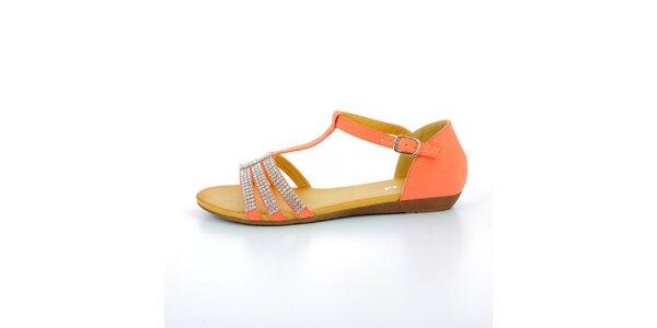 Dámske červené sandále so štrasovými kamienkami GirlHood