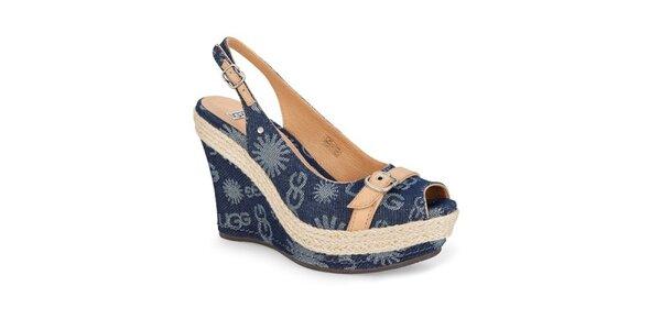 Dámske modré džínsové sandálky Ugg s potlačou
