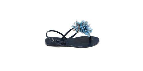 Dámske tmavo modré sandálky s azúrovou látkovou kvetinou Favolla