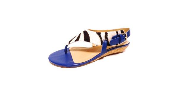 Dámske modré sandálky so zebrím motívom Via Uno