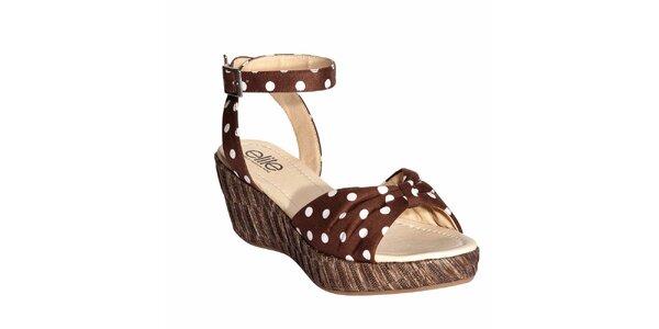 Dámske hnedé sandálky s bielymi bodkami Elite