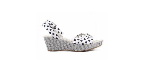 Dámske biele sandálky s čiernymi bodkami Elite