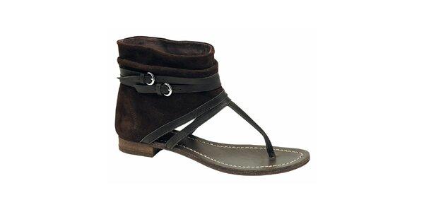 Dámske hnedo-čierne členkové sandálky Elite