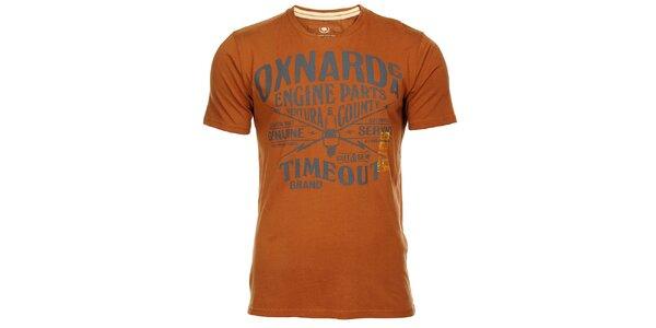 Hnedé pánske tričko Timeout s potlačou