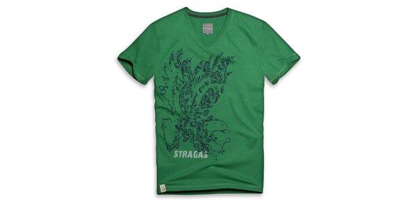 Pánske zelené tričko s potlačou orla Paul Stragas