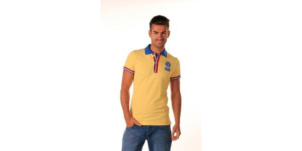 Pánske žlté polo tričko s trikolórou Celop