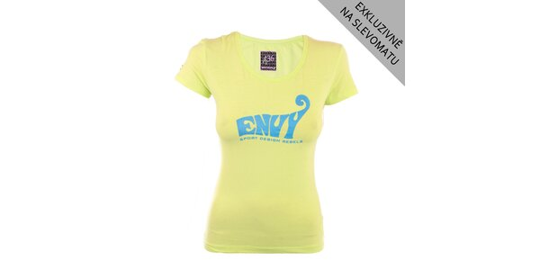 Dámske žlté tričko s modrou potlačou Envy