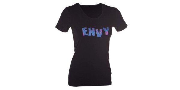 Dámske čierne tričko s nápisom Envy