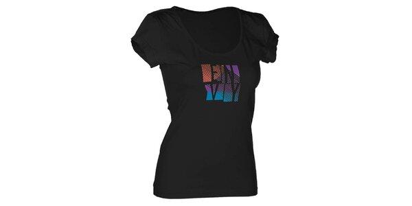 Dámske čierne bavlnené tričko s potlačou Envy
