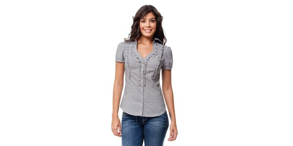 Dámska čiernobiela kockovaná košeľa Guess s volánikmi