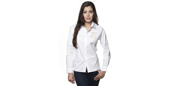 Dámska biela košeľa Valecuatro so zlatou výšivkou
