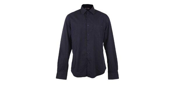 Pánska čierna košeľa s modrým prúžkom GAS