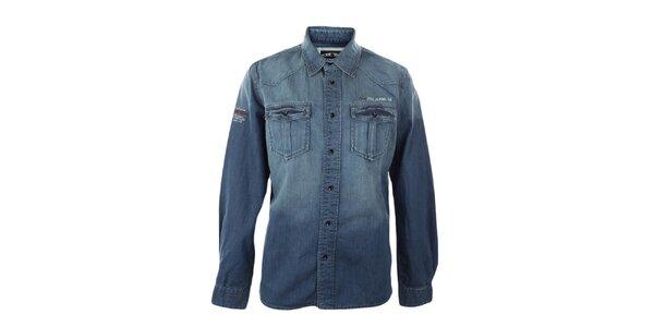 Pánska modrá džínsová košeľa s šisovaním Exe Jeans