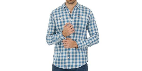 Pánska károvaná modrá košeľa Tommy Hilfiger