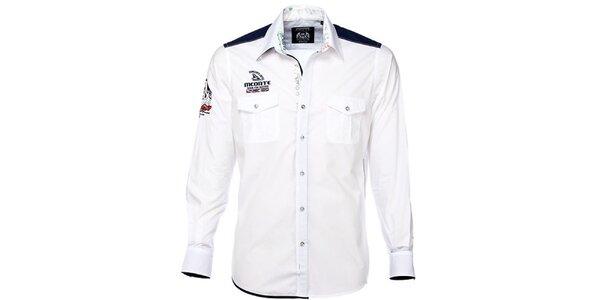 Pánska biela košeľa s farebnými detailmi M. Conte