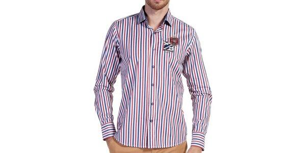 Pánska pruhovaná košeľa s nášivkou Galvanni