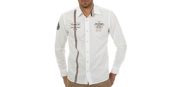 Pánska biela košeľa s talianským prúžkom Galvanni