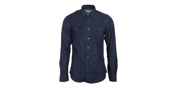 Pánska tmavo modrá džínsová košeľa Timeout