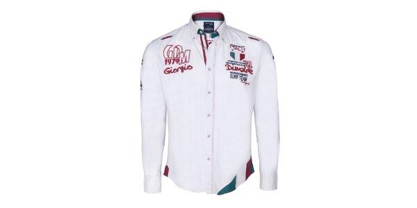 Pánska biela košeľa s farebnou vsadkou Giorgio di Mare