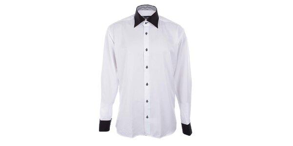 Pánska biela košeľa s čiernym golierom a manžetami Dicotto