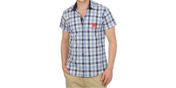Pánska modro kockovaná košeľa s krátkym rukávom Frank Ferry