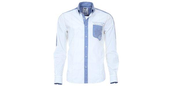 Pánska biela košeľa s modrými prvkami Pontto