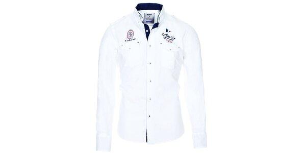 Pánska biela košeľa s vreckami Pontto
