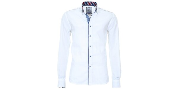 Pánska biela košeľa s farebnými manžetami Pontto