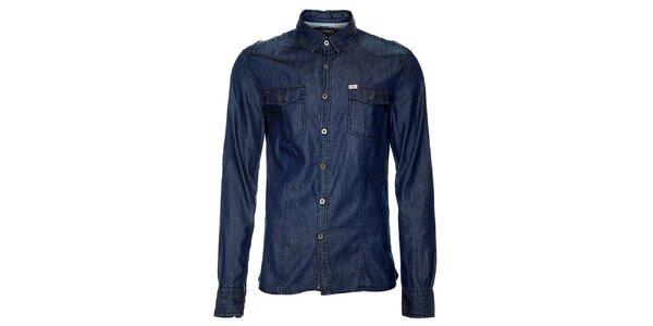 Pánska tmavo modrá denimová košeľa Timeout