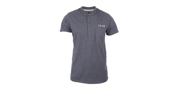Pánske šedé tričko s gombíkmi Timeout