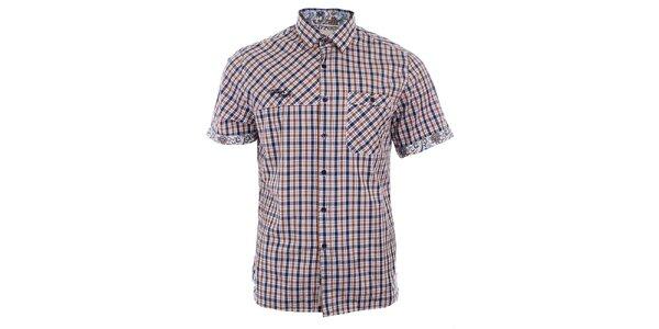 Pánska modro-hnedá károvaná košeľa Timeout