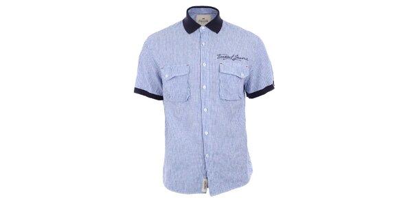 Pánska modro pruhovaná košeľa s tmavým golierom Timeout