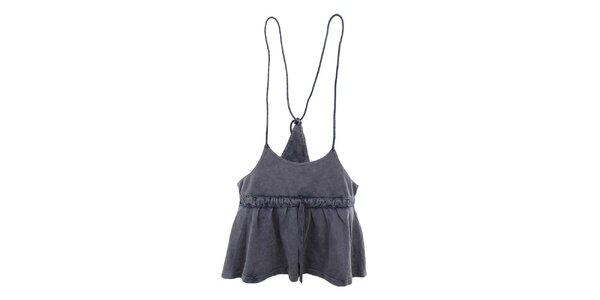 Dámska modrošedá sukňa so šnúrkami Timeout