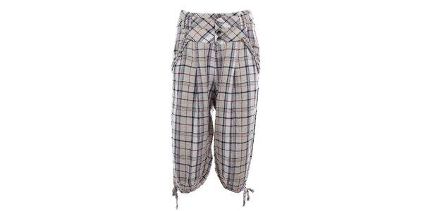 Dámske kockované ľanové capri nohavice Timeout