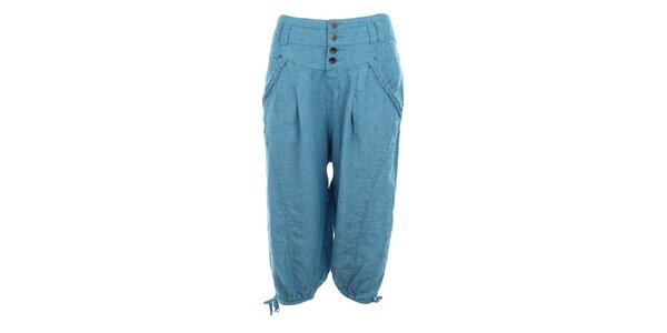 Dámske modré ľanové capri nohavice Timeout