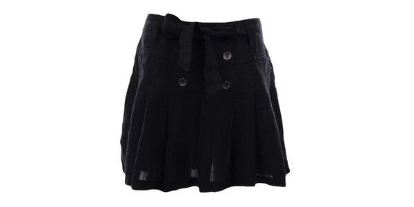 Dámska čierna sukňa s gombíkmi a mašľou Timeout