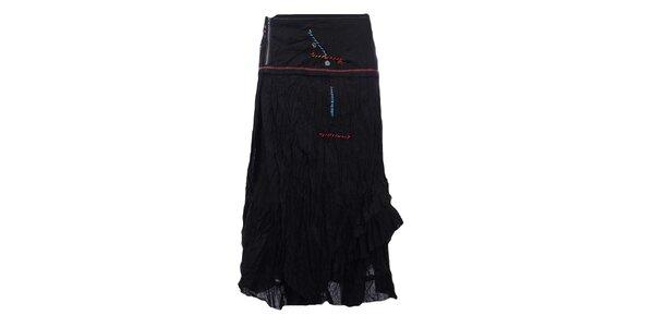 Dámska dlhšia pokrčená sukňa v čiernej farbe Dislay DY Design