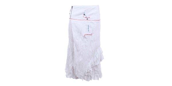 Dámska dlhšia pokrčená sukňa v bielej farbe Dislay DY Design