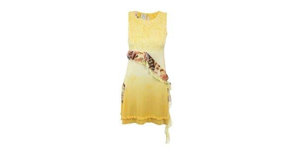 Dámske žlté šaty s volánom Dislay DY Design