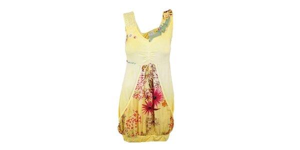 Dámske žlté šaty s aplikáciami Dislay DY Design