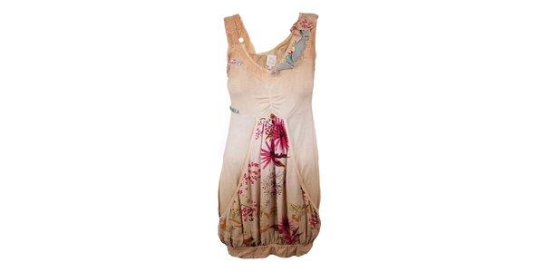 Dámske béžové šaty s aplikáciami Dislay DY Design