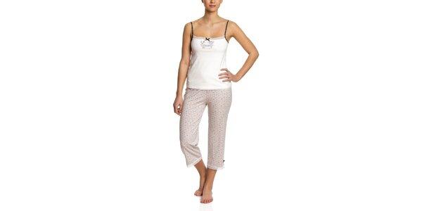 Dámske svetlé pyžamo so vzorovanými 3/4 nohavicami Vive Maria