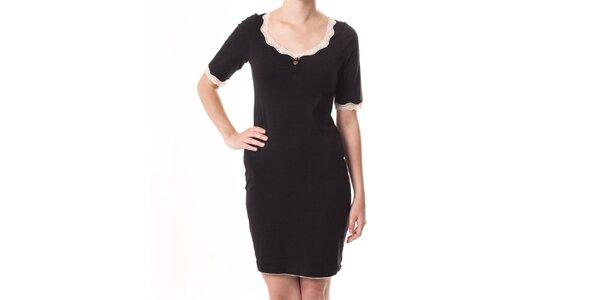 Dámske čierne priliehavé šaty s čipkou Vive Maria