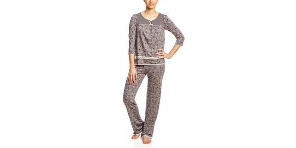 Dámske ružovošedé vzorované pyžamo Vive Maria