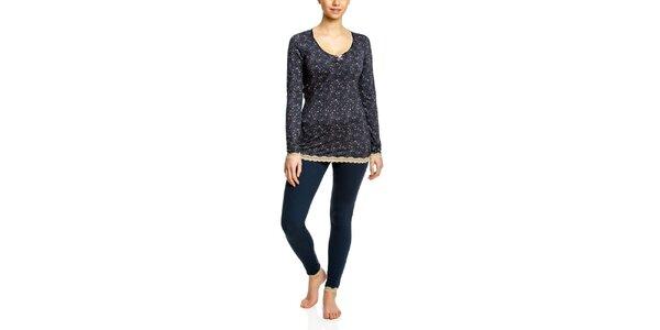 Dámske tmavomodré pyžamo s čipkou Vive Maria