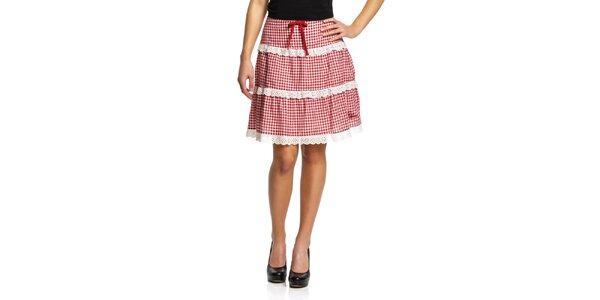 Dámska červená károvaná sukňa s čipkou Vive Maria
