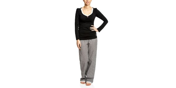 Dámske čierne pyžamo s kockovanými nohavicami Vive Maria
